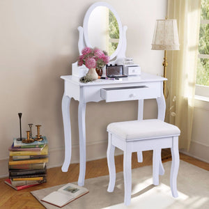 Golpus White Vanity Table Jewelry Makeup Desk and Bench Dresser with Mirror 3 Drawers Modern Furniture Vanity Table Set HB84003 - Antique Lovers