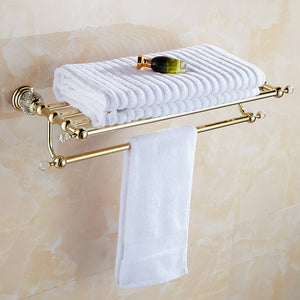 Golden Polish Brass & Crystal Towel Rack - Antique Lovers