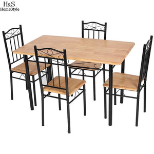 Homdox 5 Piece Kitchen Dining Set Living room Chair MDF Rectangle Dining Table with 4pcs Chair Furniture N30* - Antique Lovers