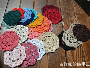 12 PCS/lot Candy Colors 100% Cotton Shabby Chic Vintage Look Crocheted Doilies Cup Mats Office/Bar/Kitchen supplies - Antique Lovers