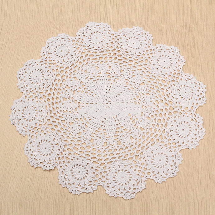 Handmade 37cm Pure Cotton Placemat Pad Tableware Crochet Lace Doily Flower Coaster Mat Kitchen Supplies Mayitr New - Antique Lovers