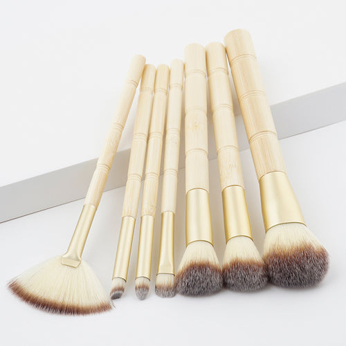2017 Brand 7Pcs Makeup Brushes Professional Cosmetic Brush Foundation retro yellow Bristle Make Up Brush Set The Best Quality - Antique Lovers