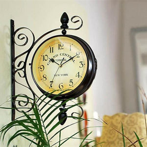 Antique Double Face Wall Hanging Metal Clock - Antique Lovers