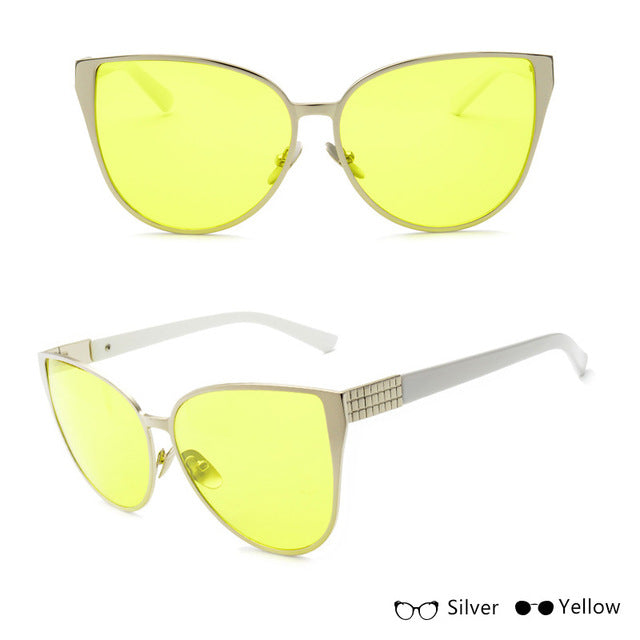 Oversized Silver-Yellow sunglasses - Simple Style Guru