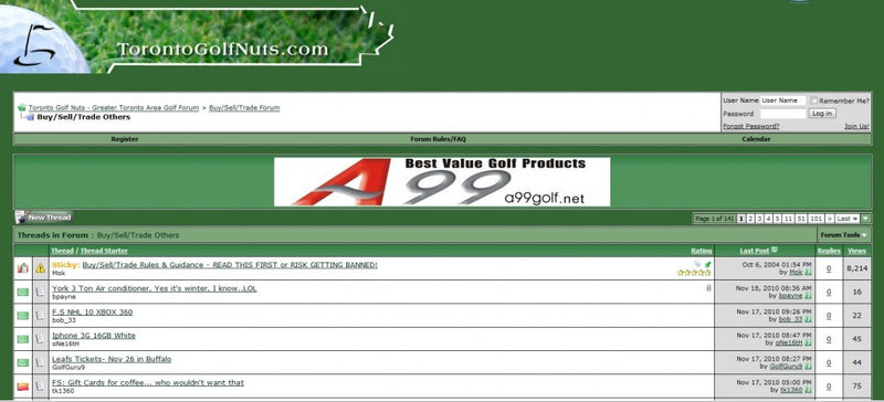 Advertising on Toronto Golf Nuts!