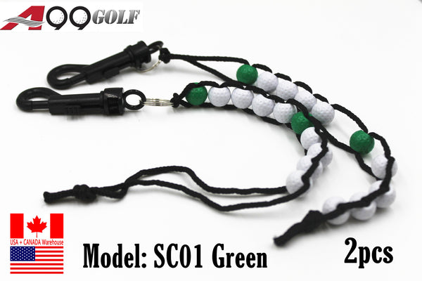 2x A99 Golf Beads green Stroke Shot Score Counter Keeper with Clip Club