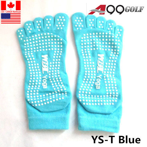 5-Toe ExerciseYoga/Pilates Toe Socks With Full Grip Blue Non Slip Skid Grip Sock - Sports, Barre, Ballet, Dance