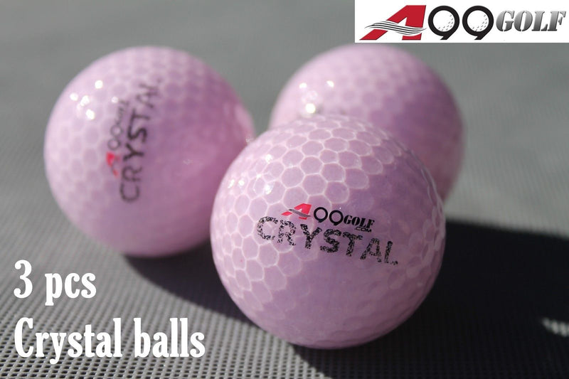 A99 Golf Crystal Balls 3 pcs Pink for Great Gift - Confroms to USGA and R&A Regulations