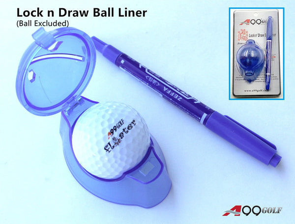 A99 Golf Ball Liner Lock n Draw Line Marker Drawing Template Alignment Drawing Tool with Pen Accessories