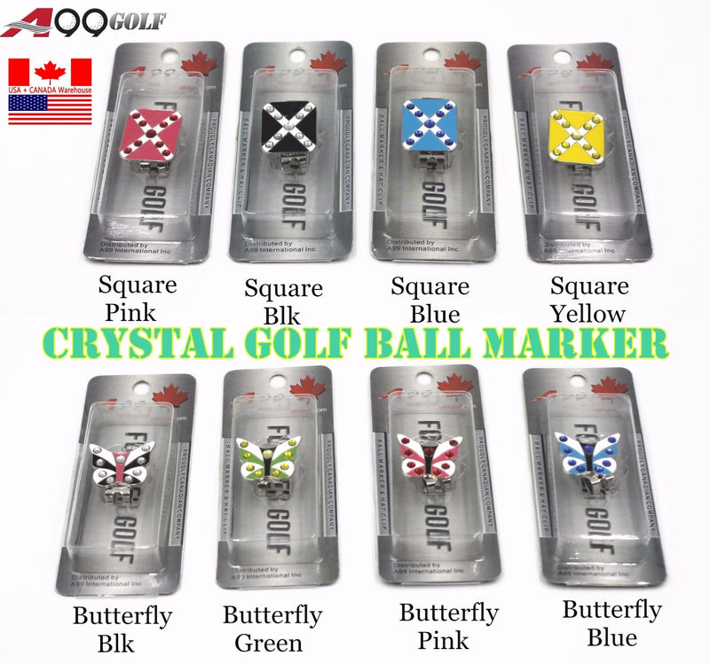 "A99 Crystal Golf Ball Marker Magnetic Hat Clip 1"" diameter random colors/patterns"
