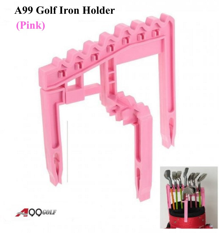 A99 Golf 9 Iron Club Holder Organize Your Irons Universal Above Bag Durable Black/Pink