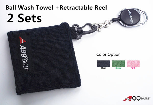 2 Sets x A99 Golf Ball Wash Towel + Retractable Reel