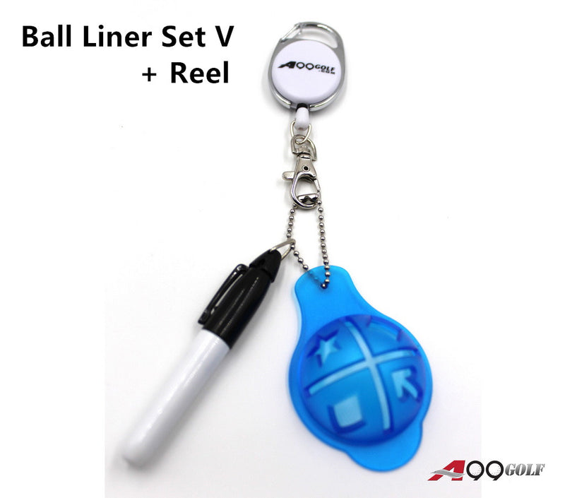 A99 Golf Ball Liner Set V Line Marker Alignment Tool Template Drawing w Chain Pen + Free Retractable Reel