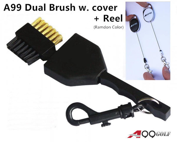 A99 Golf Dual Brush w. cover Black + Retractable Reel - 1 Set