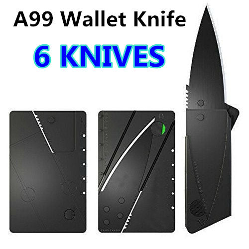 6 x Wallet knife Credit Card Knives Lot, Outdoor Safety folding, wallet thin, pocket survival micro knife