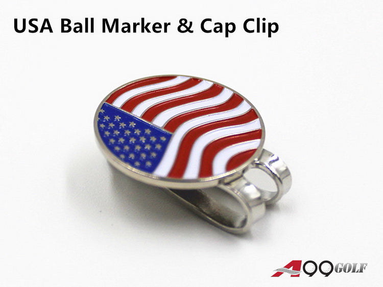 A99 Golf USA Flag Golf Ball Marker with Magnetic Golf Cap Clip