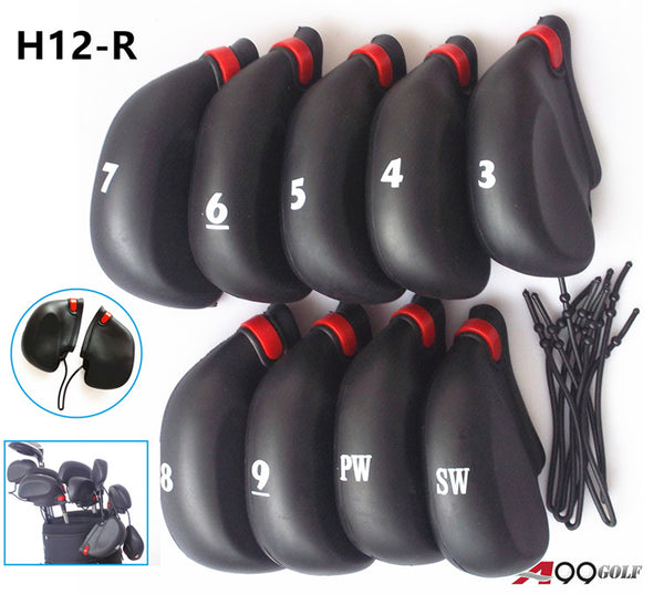 9pcs/Set H12-R A99 Golf Rubber Club Iron Putter Head Covers Number Print Headcovers - Sale As IS