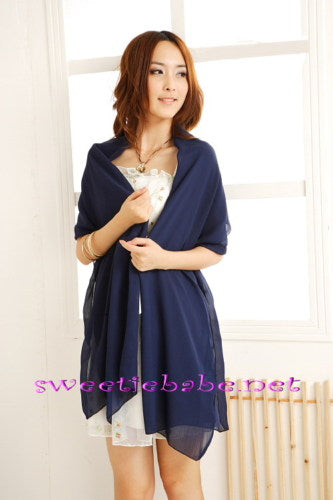 Sweeteibabe P06 Chiffon Evening Cocktail Scarf Bridal Shawl BLUE