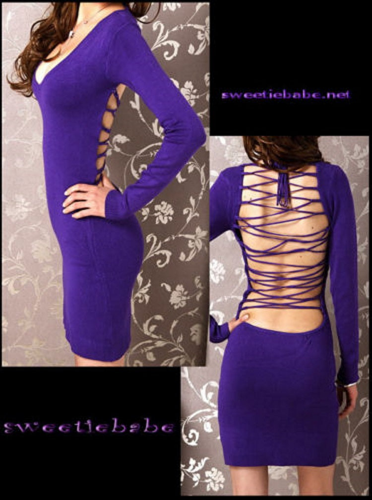 Sweeteibabe V19 V-Neck Backless Clubwear/Cocktail Long Sleeve Dresses Purple S/M