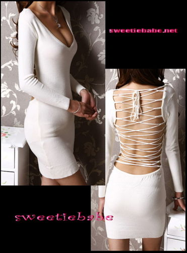 Sweeteibabe V19 V-Neck Backless Clubwear/Cocktail/Party Dress Wht M