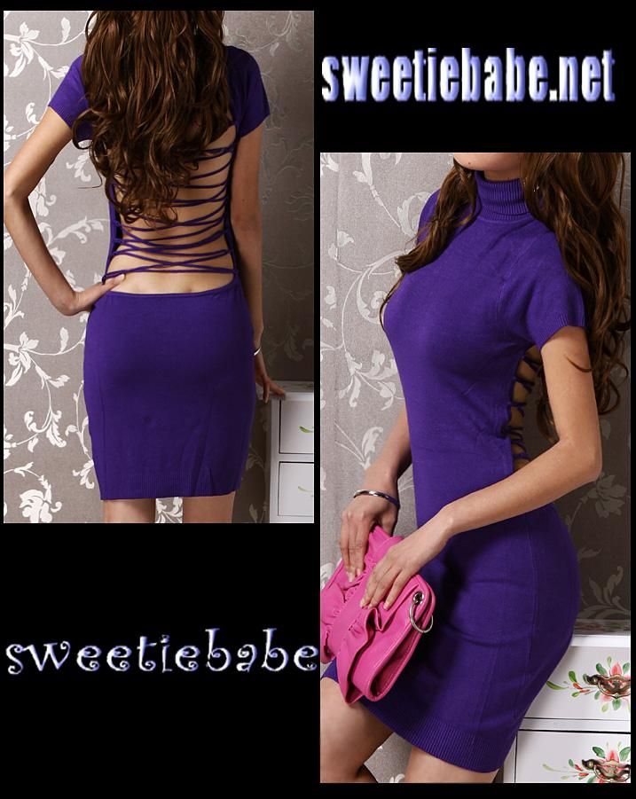 V20 Turtleneck Backless Clubwear Party Mini Dress Purple S/M
