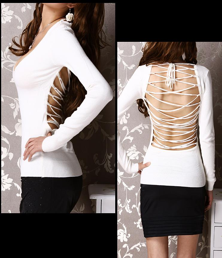 Sweeteibabe V17 V-Neck  long sleeve Casual Tops Shirts Blouse Ivory S/M