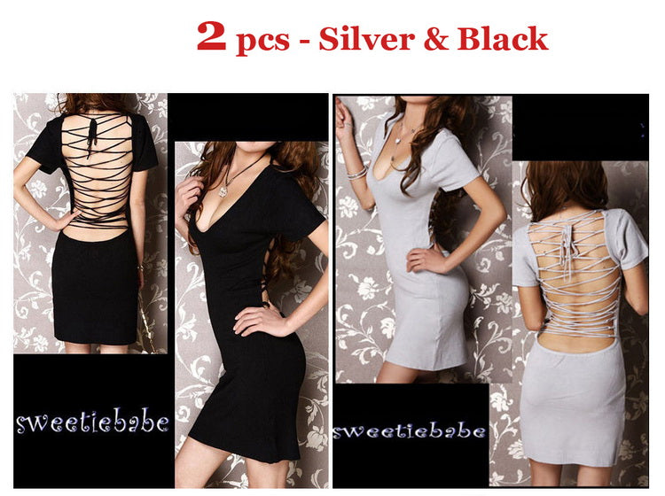 V-Neck Backless Clubwear/Cocktail Dress black S+grey S 2pcs