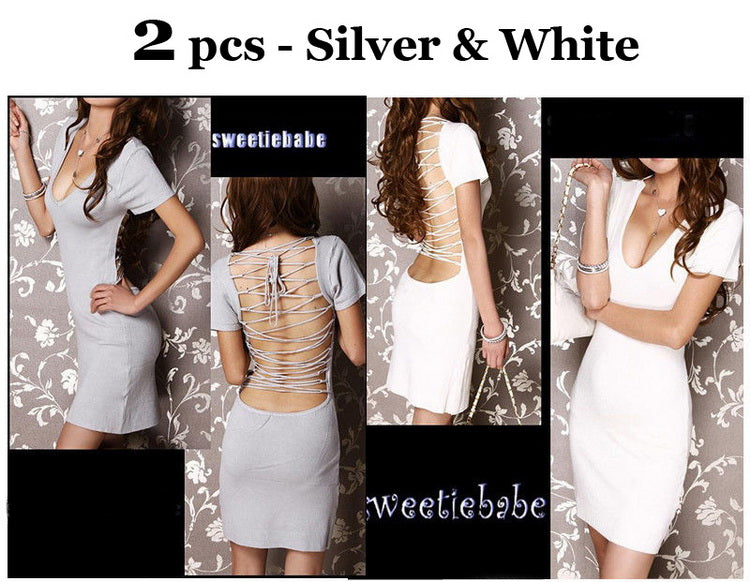 V22 V-Neck Backless Clubwear/Cocktail Dress blk M/grey M/white M/white S 2pcs