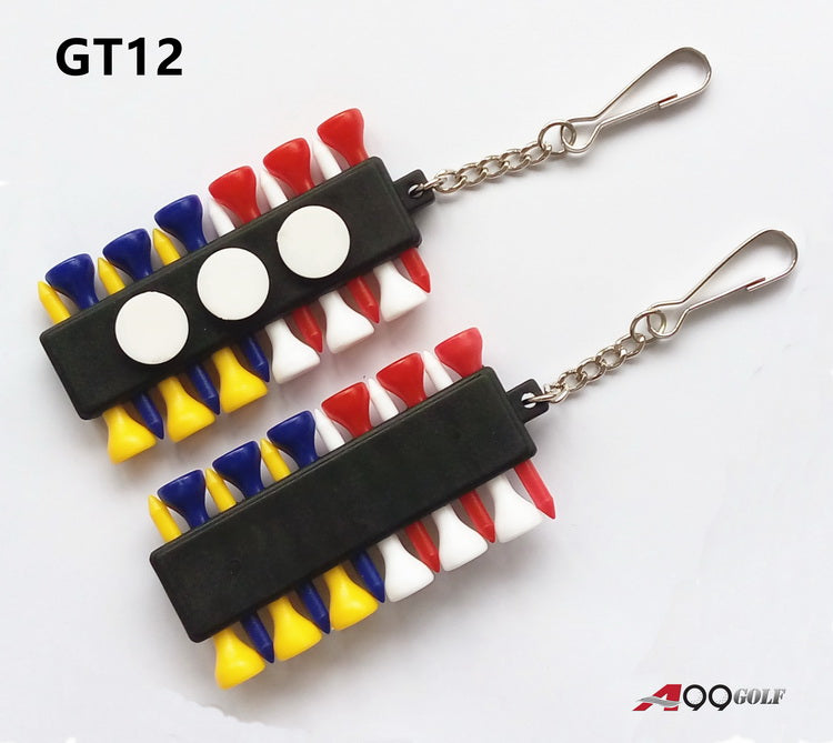2sets of A99 Golf GT12 Tee Holder Carrier with 12 Plastic Tees w 3 Ball Markers w 1 KeyChain