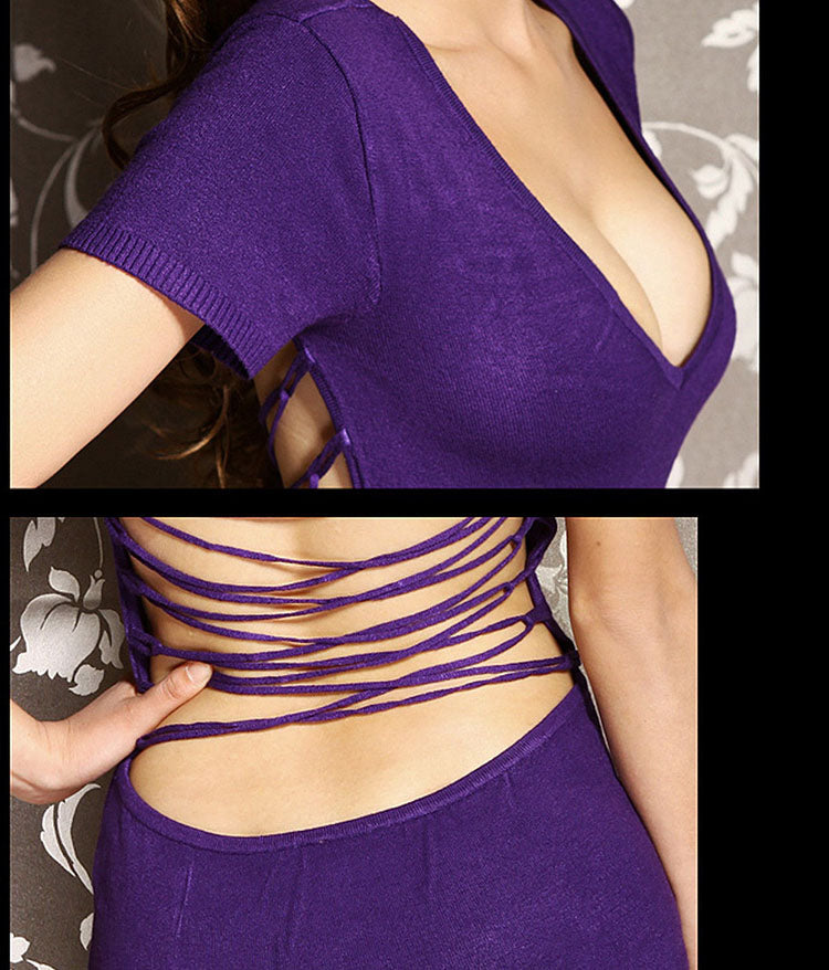 V22 Deep V-Neck Sexy Party Cocktail Clubwear Backless Short Sleeve Casual Dress S/M 1pcs