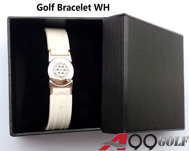 Power Golf Magnetic Titanium White Bracelet With Detachable Ball Marker (Gift Box or Blister Pack)