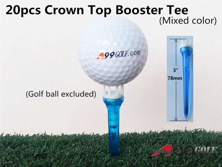 "A99 Golf 20pcs 3"" Crown Top Booster Tees No Friction Mixed Color Plastic Crown Shape Claw Cushion Top Lift Tees"