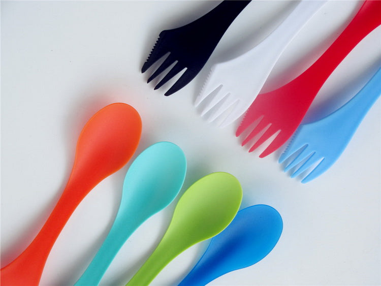 24pcs/pack 3 in 1 Spoon Fork Knife Cutlery Set (Mixed color)