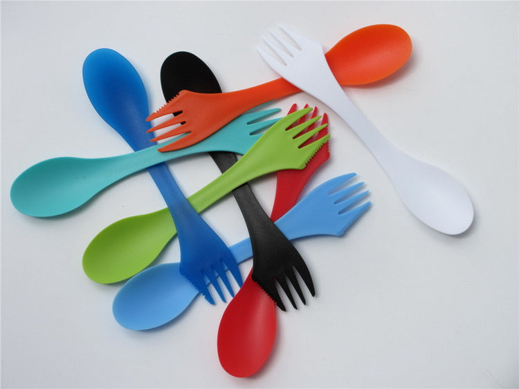50pcs/pack 3 in 1 Spoon Fork Knife Cutlery Set (Mixed color)