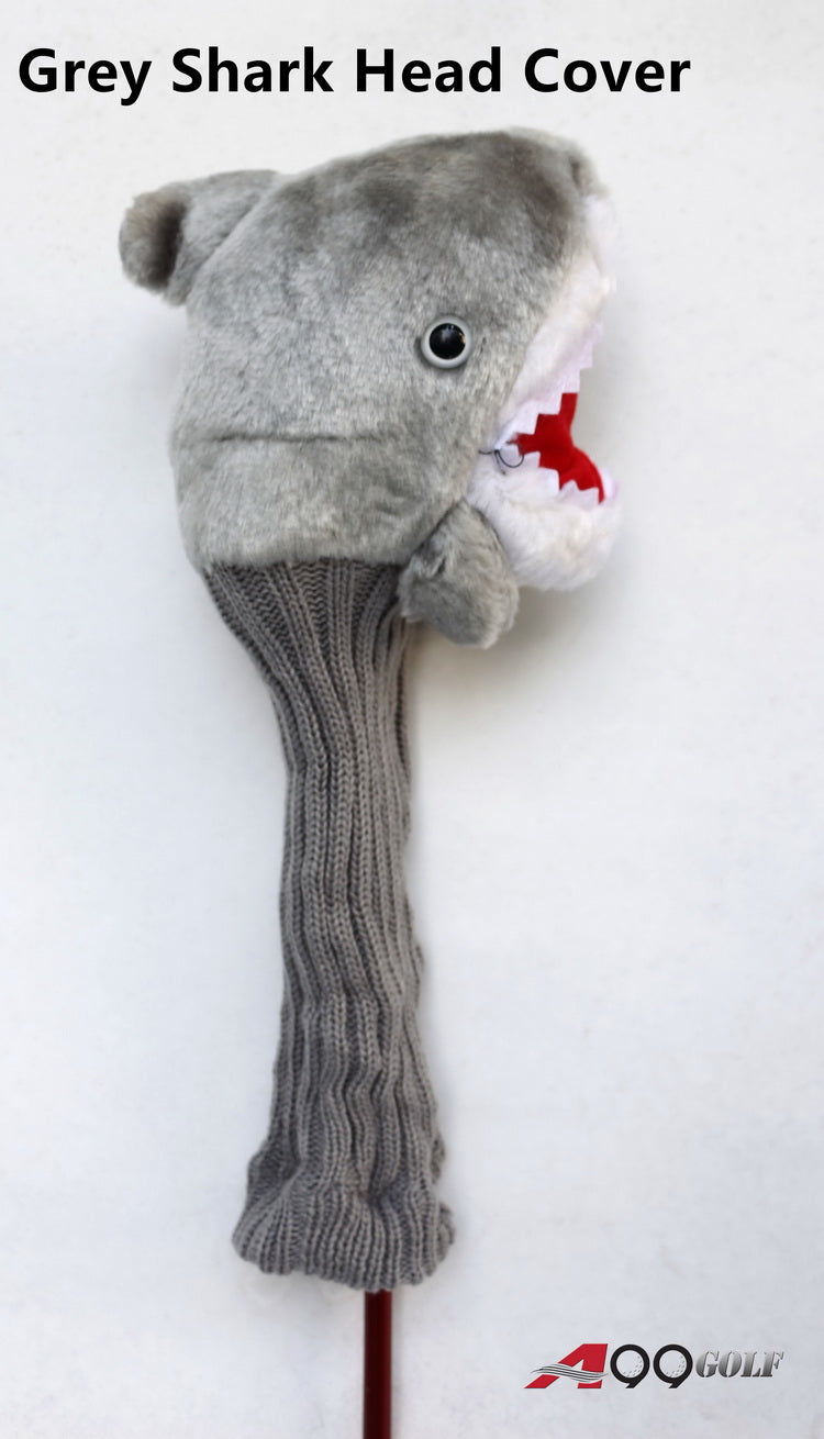 A99 Golf Cute Animal Grey Shark Head Cover Headcover Great Gift - Fits Driver
