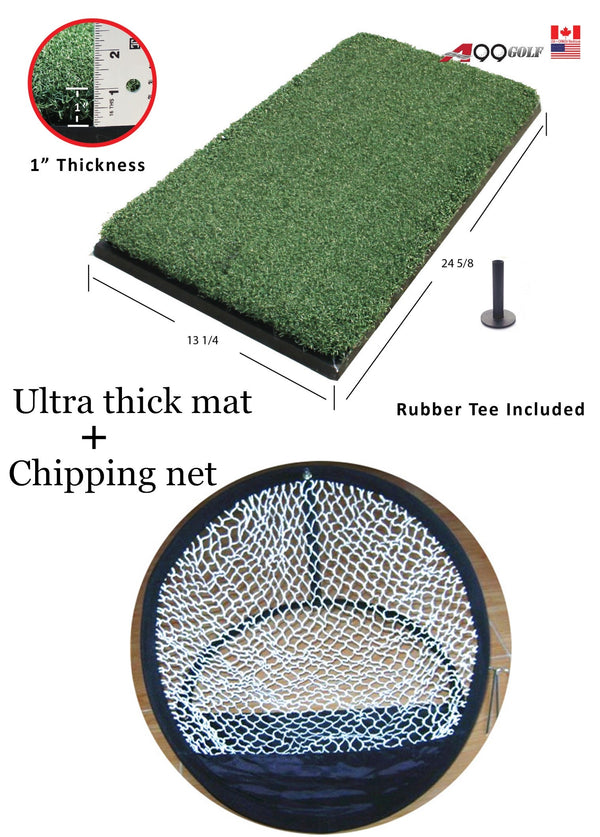 A99 Golf Ultra Thick Practice Mat with Golf Rubber Tee + Chipping Net