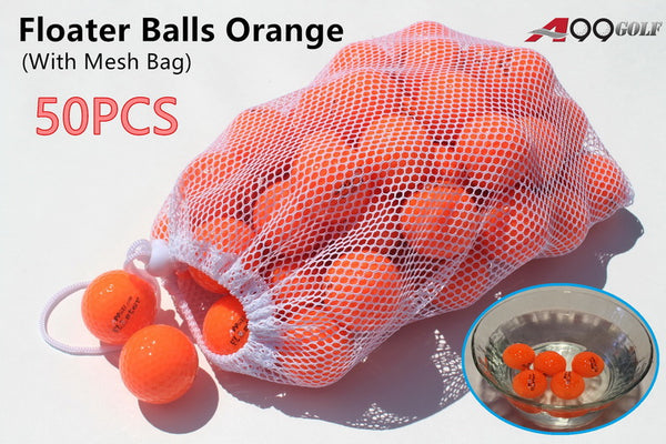 50pcs A99 Golf Floater Balls Orange with a Mesh Bag