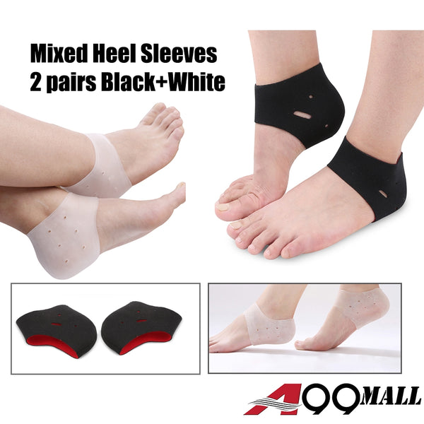A99 Mixed Heel Sleeves Pad  (2 pairs black + white)