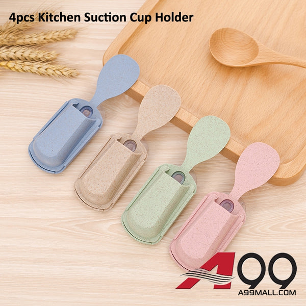 4pcs A99 Kitchen Suction Cup Cutlery Spoon Holder Shelf Rack Organizer
