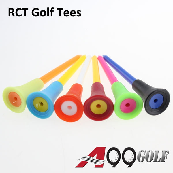 50pcs A99 Rubber Cushion Top Plastic Golf Tees Multicolored 83mm Plastic Golf Tees Durable Bulk for Men Kids Women Gift Pack