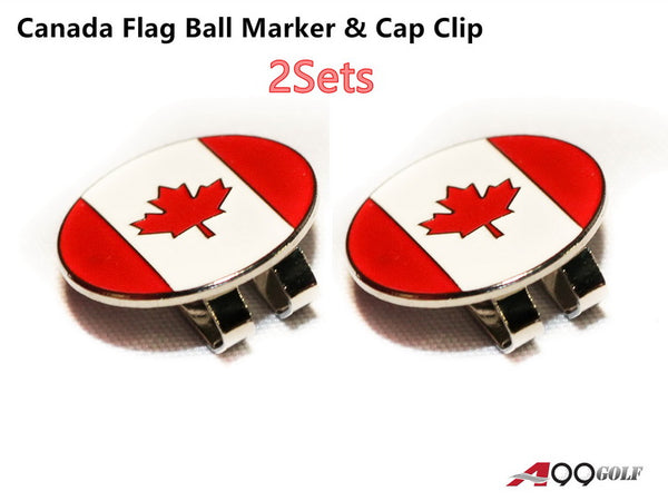 A99 Golf Canada Flag Golf Ball Marker with with Magnetic Golf Cap Clip 2 sets