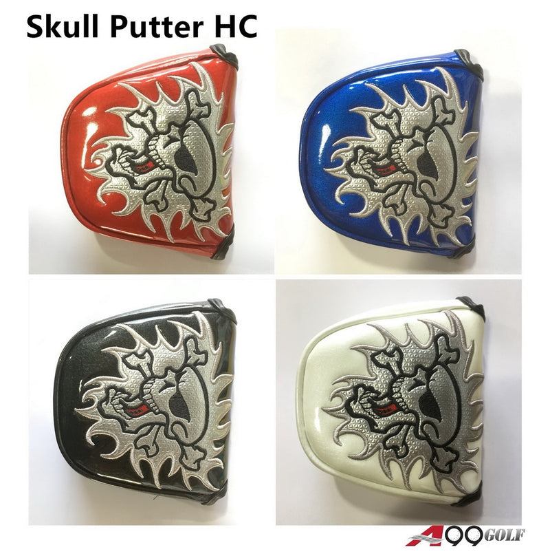 Skull Putter HC Golf Mallet  Head Cover Shinny Leather Magnet Cosure