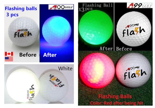 3 pcs A99 Golf Twilight  Light-up Flashing Golf Balls