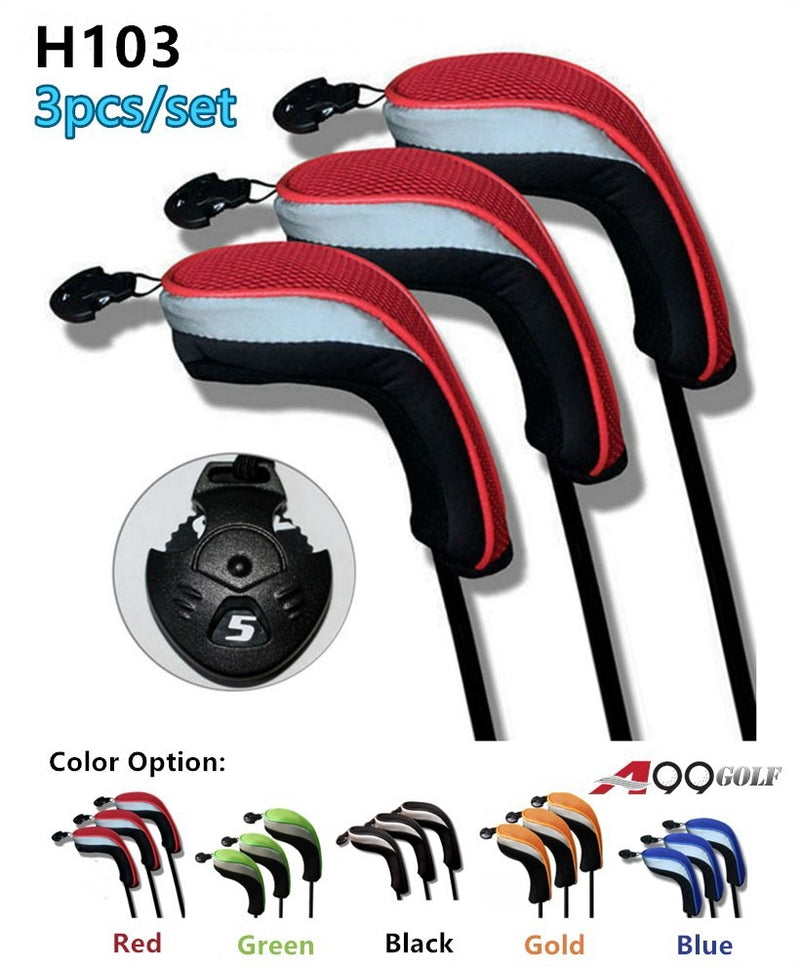 H103 Pack of 3 A99 Golf Hybrid Club Head Covers Interchangeable No. Tag