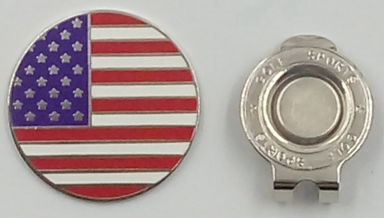 A99 Golf USA Flag Golf Ball Marker with with Magnetic Golf Cap Clip Hat Visor Clip
