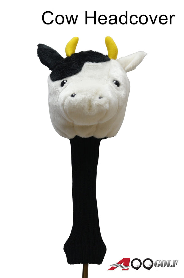 A99 Golf Cute Animal Cow Head Cover Wood Headcover Great Gift - Fits Driver
