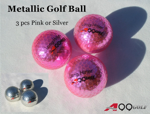 A99 Golf Metallic Balls 3pcs Shiny High Visibility High-Performance Long Distance Golf Balls, Gifts for Men, Women, Golfer Pink or Silver