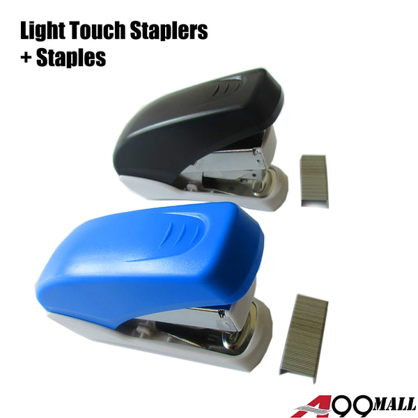 A99 Light Touch Stapler w Staples Set In Small Stapler Size, Fits into The Palm of Your Hand Random Color