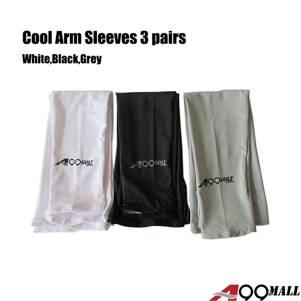3 pairs A99 UV Protecttion Cooling Arm Sleeves Sun Protection Sleeves for Men and Women Cooler Protective Running Golf Cycling Basketball Driving Fishing Long Arm Cover Wicking Sleeves Black/White/Grey