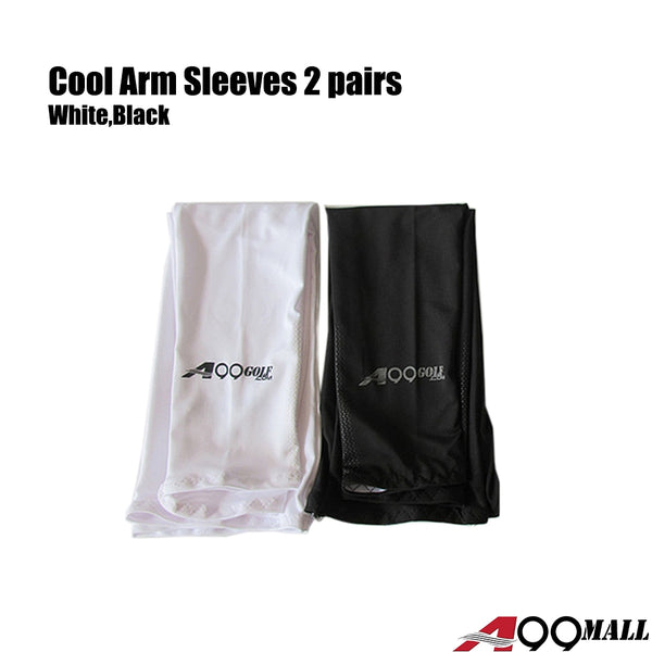 2 pairs A99 UV Protecttion Cooling Arm Sleeves Sun Protection Sleeves for Men and Women Cooler Protective Running Golf Cycling Basketball Driving Fishing Long Arm Cover Wicking Sleeves Black/White